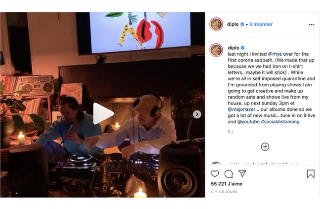 Diplo improvising a live show from his house